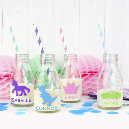 Personalised Milk Bottles for Party Favours and Gifts