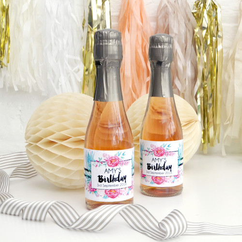 Personalised Floral Birthday Party Wine Bottle Labels for Favours and Gifts
