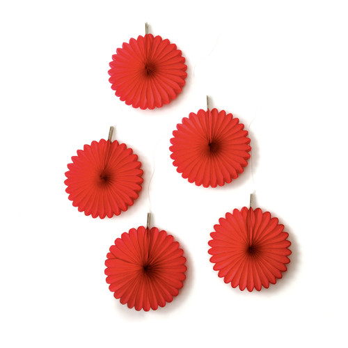 Red Paper Fan Set Party Decorations