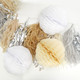 Ivory and White Paper Honeycomb Pom Pom Decorations