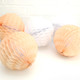 Peach and White Paper Honeycomb Pom Pom Decorations