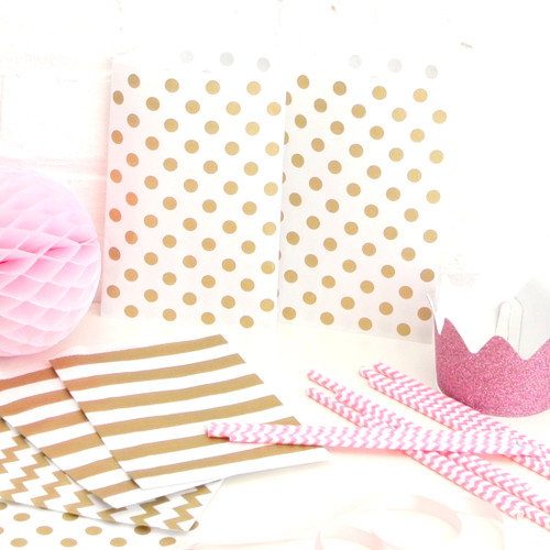 Gold polka dot paper party bags