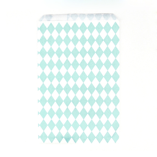 Stylish mint diamond geometric paper party bags for childrens birthday parties, wedding favours, baby showers and hen parties