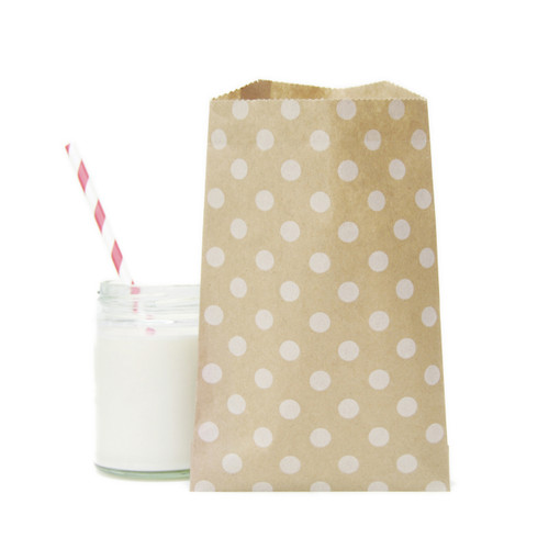 Polka Dot Kraft Brown Paper Bags for wedding favours, birthday party gifts and craft projects