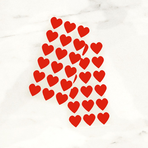 Red heart stickers for wedding favours, gift wrap and craft projects