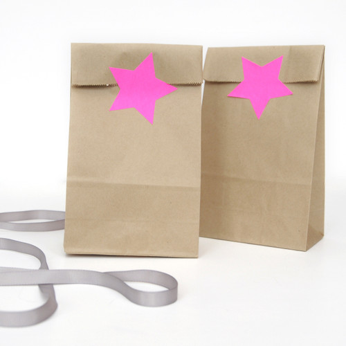 Bright pink star stickers for craft projects, gift wrap finishing touches and wedding favours