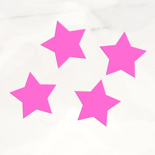 Neon pink star stickers for craft projects, gift wrap finishing touches and wedding favours