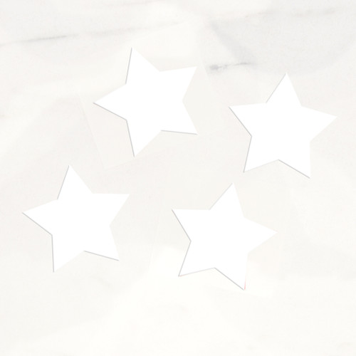White star stickers for craft projects, gift wrap finishing touches and wedding favours