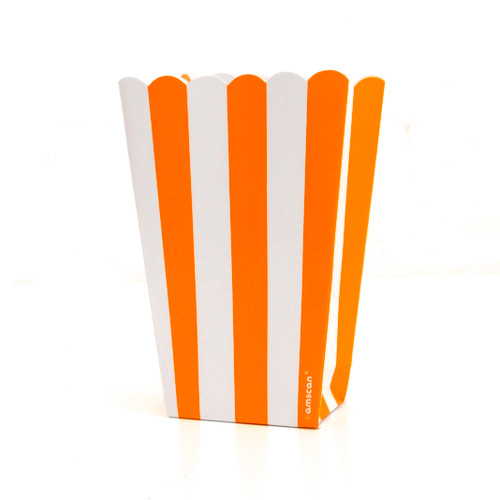 Orange stripe popcorn boxes for carnival parties, circus wedding themes, popcorn birthday parties, movie nights or hen dos