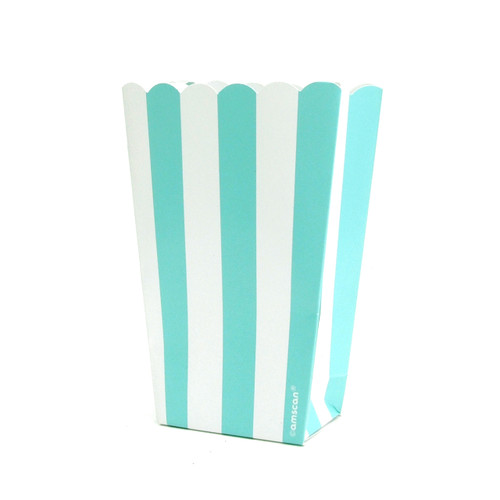 Turquoise stripe popcorn boxes for carnival parties, circus wedding themes, popcorn birthday parties, movie nights or hen dos