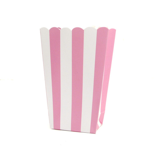 Pink stripe popcorn boxes for carnival parties, circus wedding themes, popcorn birthday parties, movie nights or hen dos