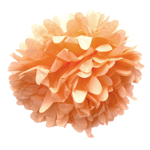 Peach tissue paper pom pom decoration for birthday parties, weddings, hen dos and baby showers