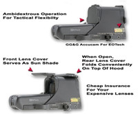"GG&G Flip Up Lens Covers For EOTech 511, 512, 551, And 552 Holosights, With ""INFIDEL"" Front Cover"