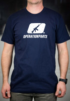 Operation Parts Distressed Logo T-Shirt, Navy