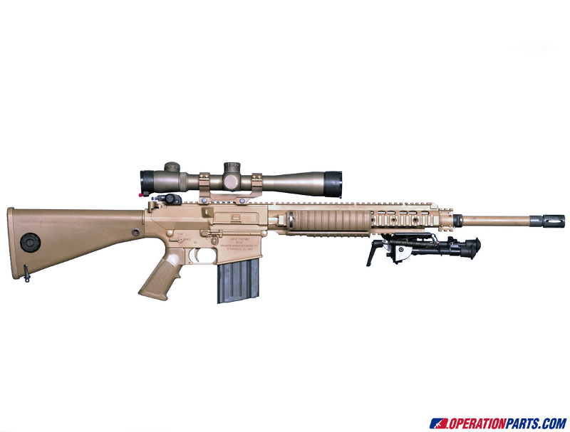 Knight's Armament M-110 A2 Pistol Grip, Taupe.  Installed on gun.