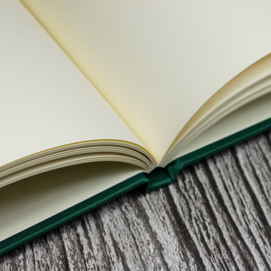 Wedding Guest Book In Emerald Green Satin - A5 or A4 Landscape