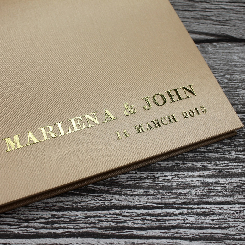 Wedding Guest Book In Pale Gold Satin - A5 or A4 Landscape