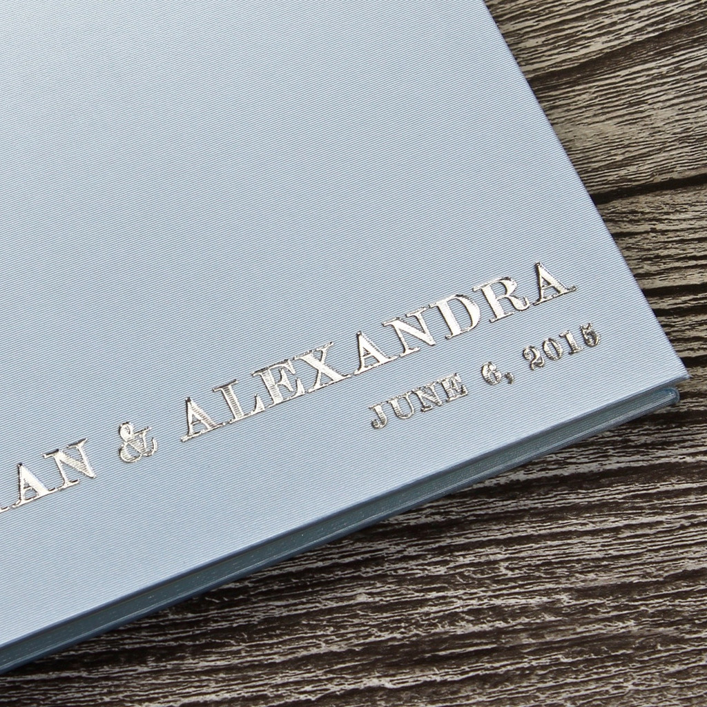 Wedding Guest Book In Pale Blue Satin - A5 or A4 Landscape