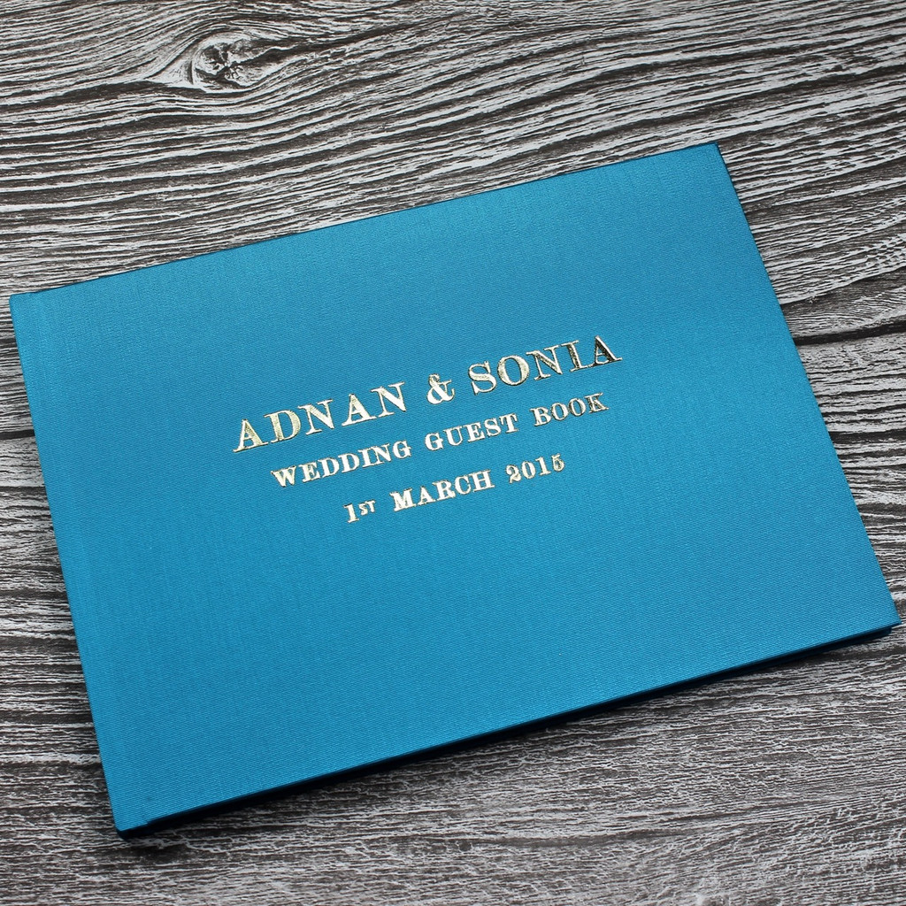 Wedding Guest Book In Teal Satin - A5 or A4 Landscape