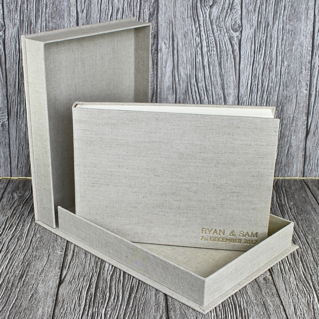 Drop Back / Clamshell Box In Natural Oatmeal Linen Cloth