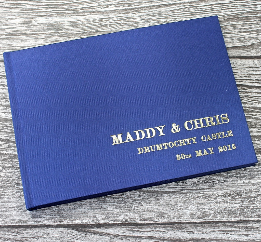 Wedding Guest Book In Midnight Blue Satin - A5 or A4 Landscape