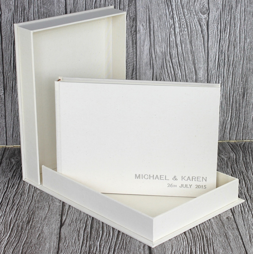 Drop Back / Clamshell Box In Ivory Linen Cloth