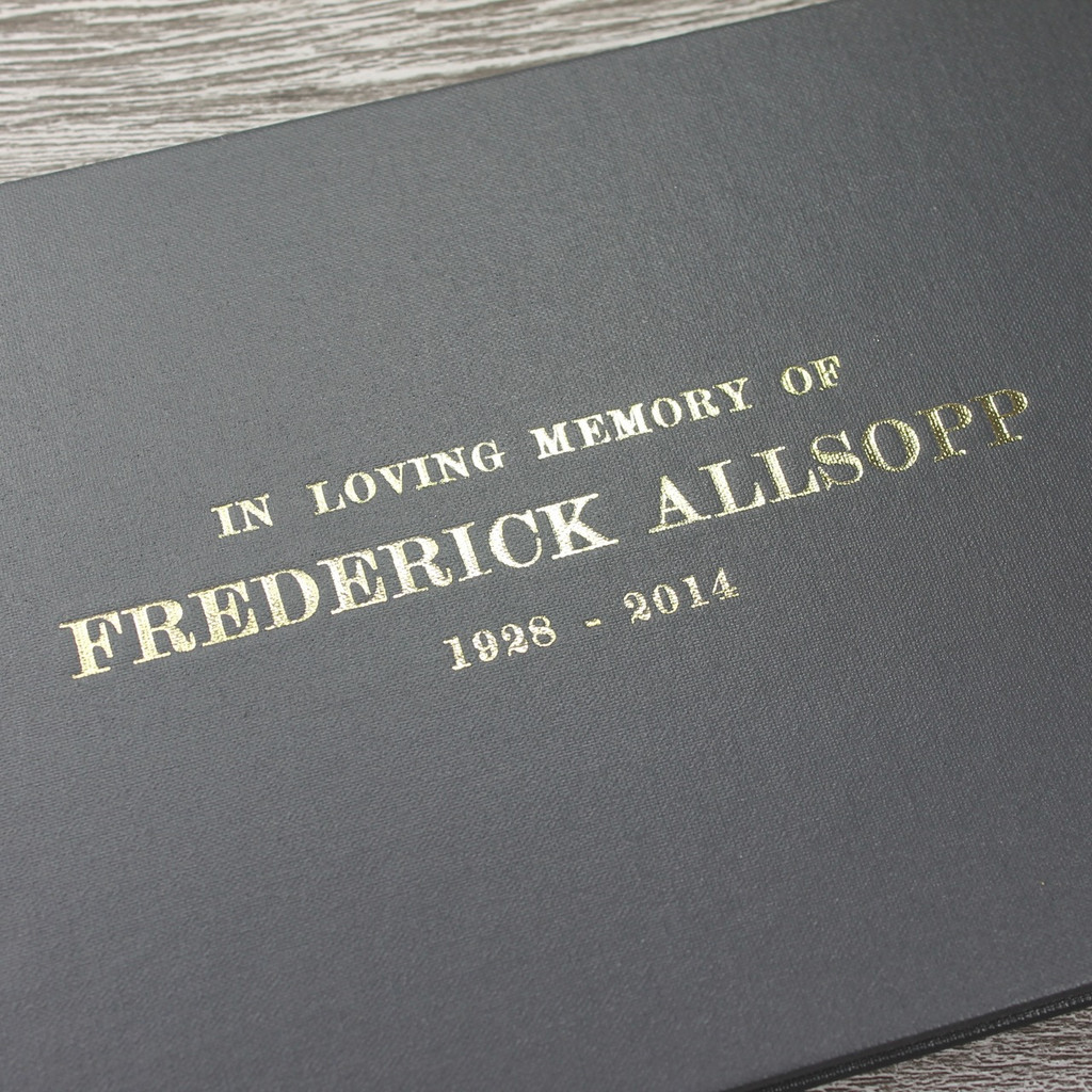 Personalised Funeral Guest Book / Remembrance / Condolence Book - Grey Buckram Cloth