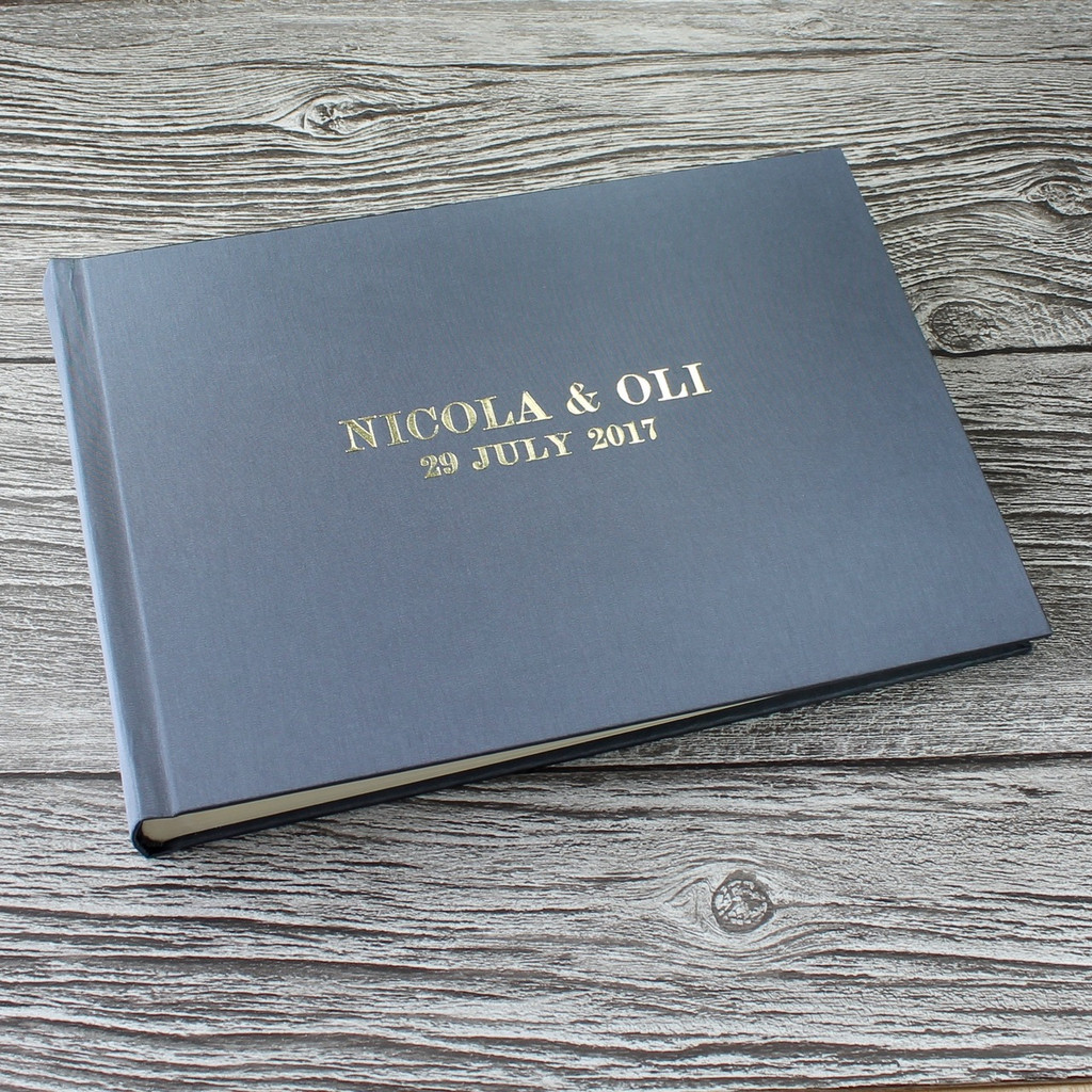 Photo Booth Guest Book - Silver Grey Satin - A5 or A4 Landscape