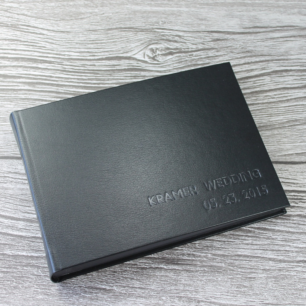 Photo Booth Guest Book - Black Leather - A5 or A4 Landscape