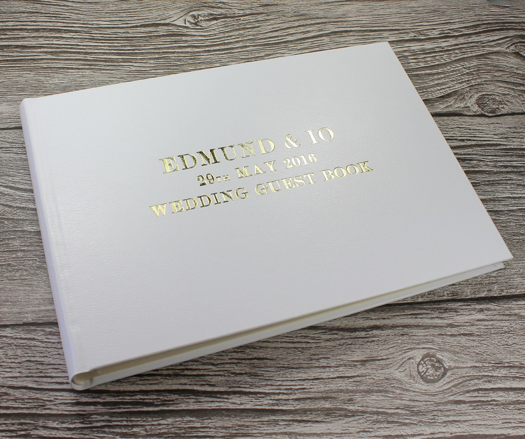 Photo Booth Guest Book - White Leather - A5 or A4 Landscape