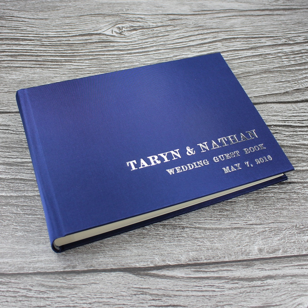 Photo Booth Guest Book - Midnight Blue Satin - A5 or A4 Landcape