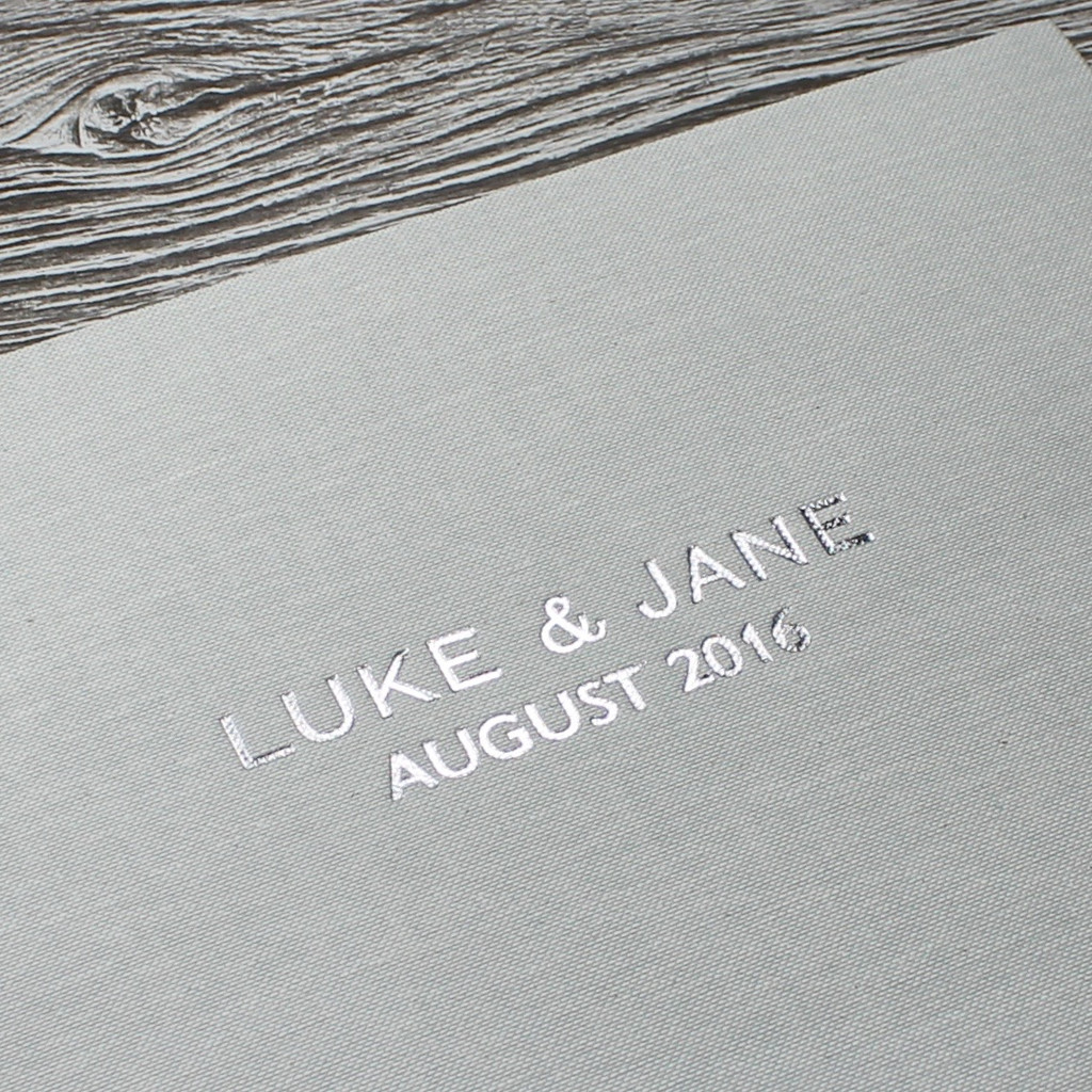 Photo Booth Guest Book - Misty Blue Linen - A5 or A4 Landscape
