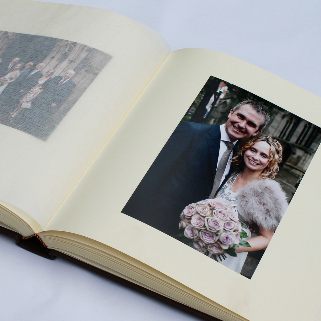 Ivory Satin Taffeta Photo Album With Moiré Design