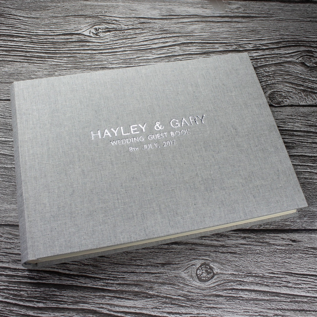 Photo Booth Guest Book - Grey Marl Linen - A5 or A4 Landscape