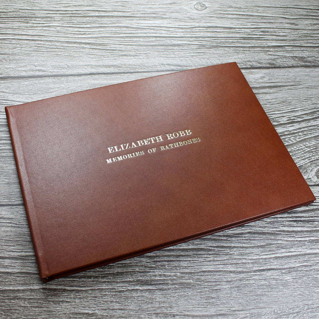 Wedding Guest Book In Tan Leather - A5 or A4 Landscape
