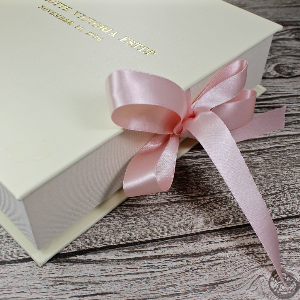 Baby Girl Keepsake Memory Box - Ivory Leather With Pink Ribbon Tie