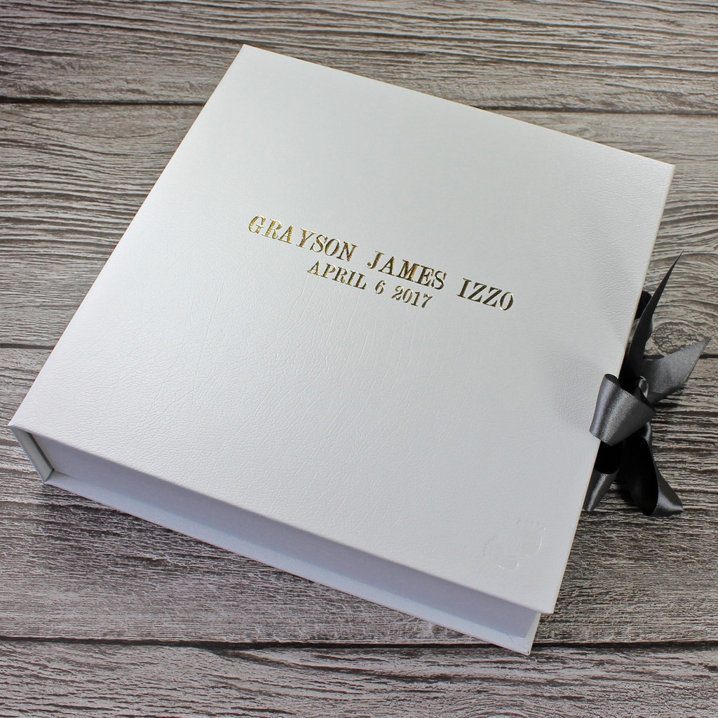 Baby Boy Keepsake Memory Box - White Leather With Grey Ribbon Tie