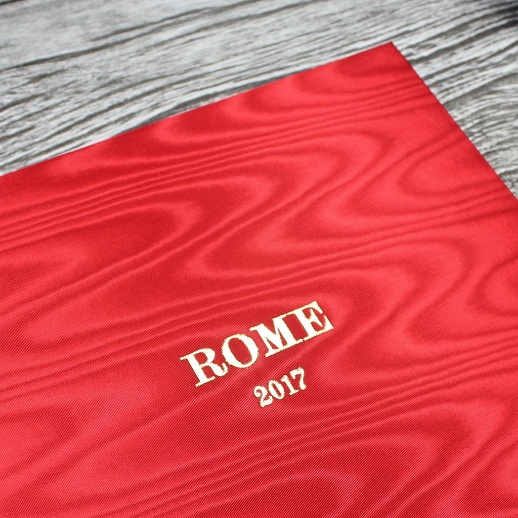 Red Satin Taffeta Album With Moiré Design