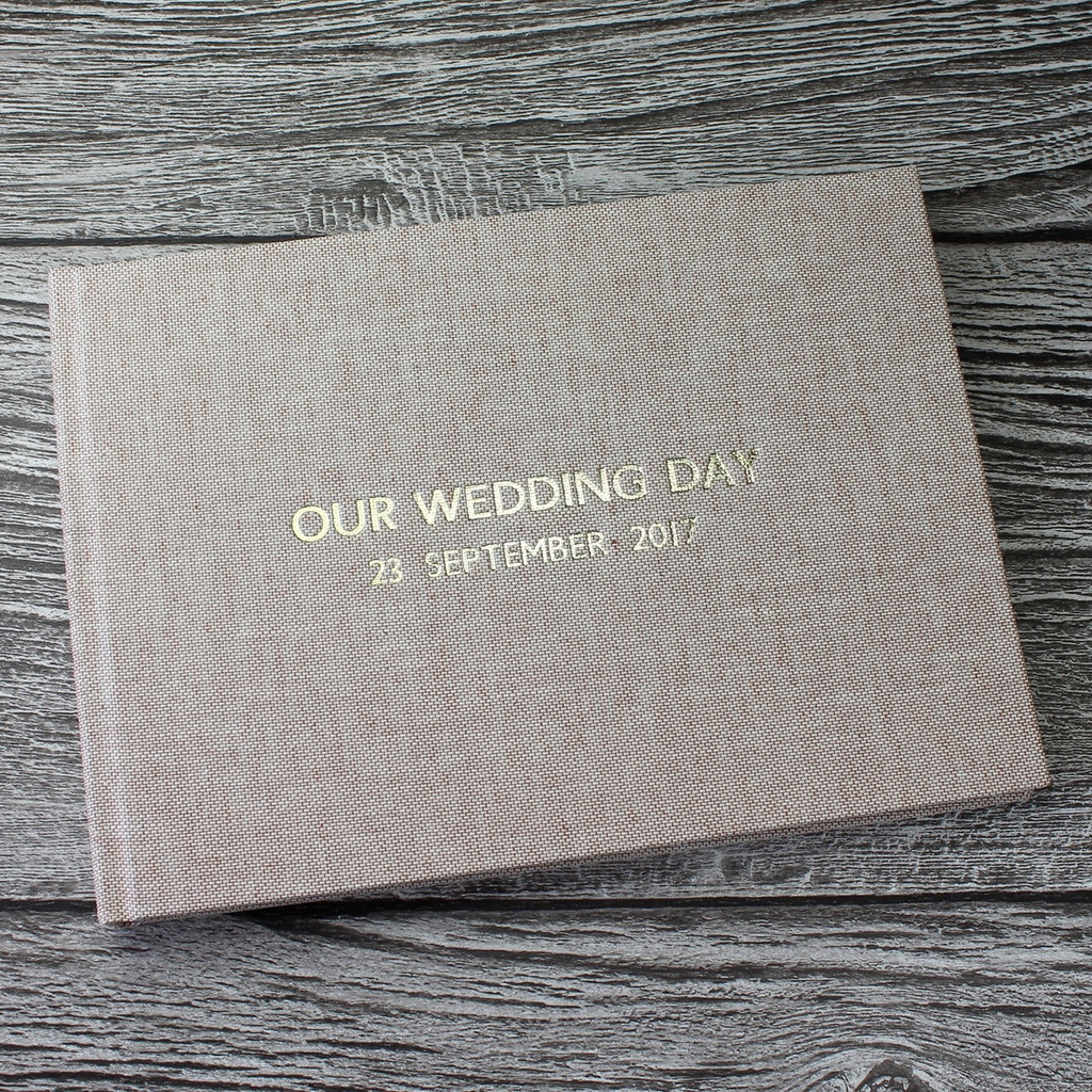 Wedding Guest Book In Peach Blush Linen - A5 or A4 Landscape