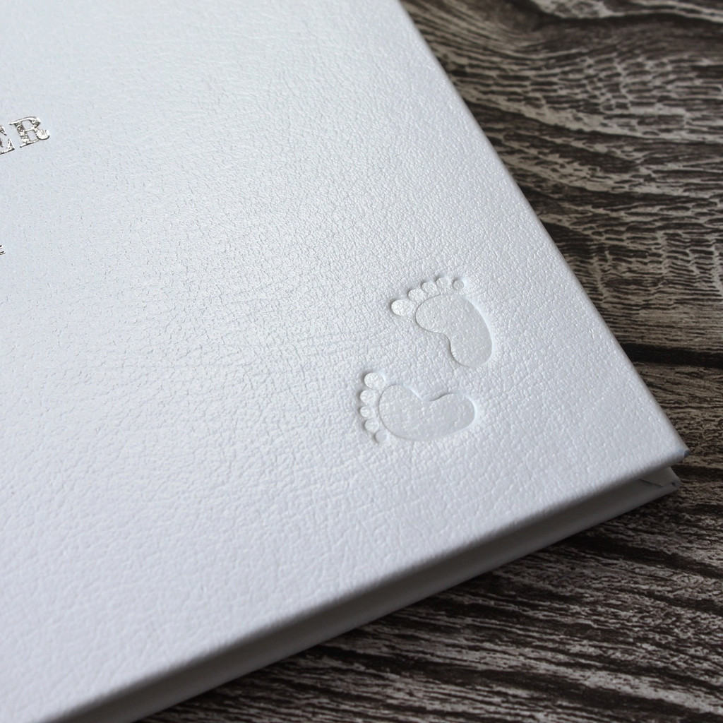 Christening Guest Book / Baby Naming Book - Silver Ribbon Detail - A5 Landscape