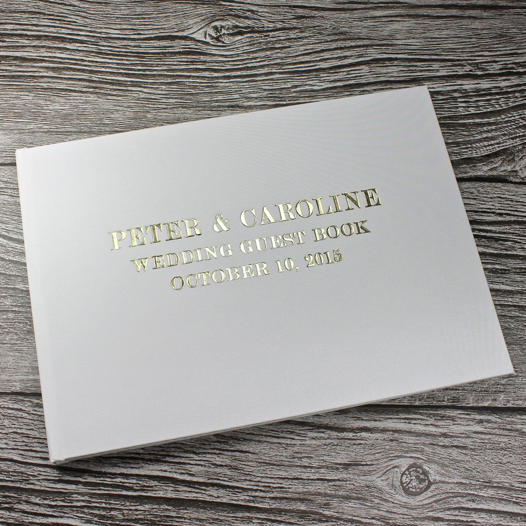 Wedding Guest Book In Ivory Satin - A5 or A4 Landscape