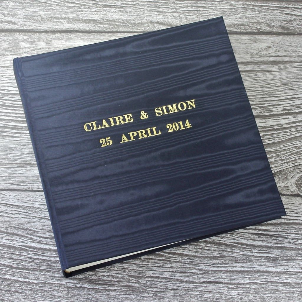 Navy Satin Taffeta Photo Album With Moiré Design