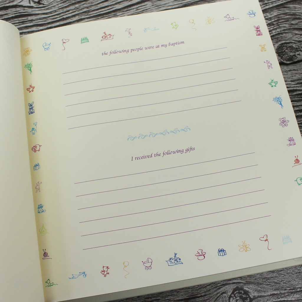 Baby Memory Record Book - White Leather Silver & White Ribbon Page Marker