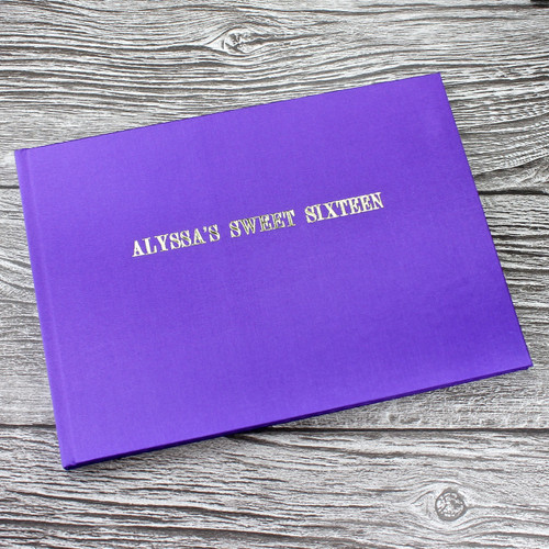 Wedding Guest Book In Purple Satin - A5 or A4 Landscape