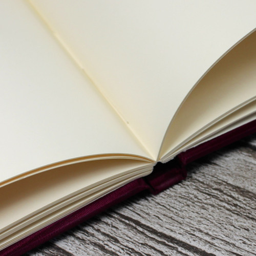 Wedding Guest Book In Magenta Satin Taffeta With Moiré Design - A5 or A4 Landscape