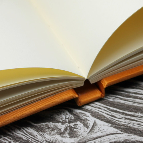 Wedding Guest Book In Burnt Orange Satin - A5 or A4 Landscape