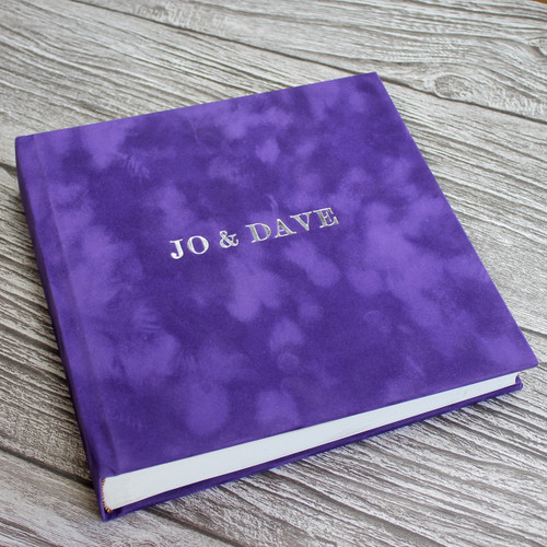 Contemporary Purple Velvety Suede Look Cloth Photo Album