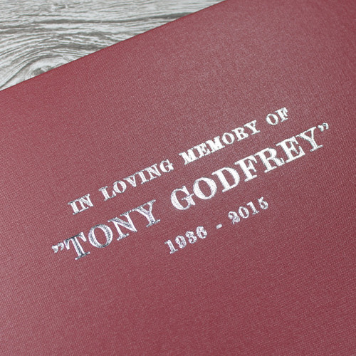 Personalised Funeral Guest Book / Remembrance Book - Burgundy Buckram Cloth