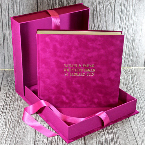 Drop Back / Clamshell Box - Fuchsia Pink Velvety Suede Look Cloth