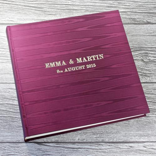 Magenta Satin Taffeta Photo Album With Moiré Design